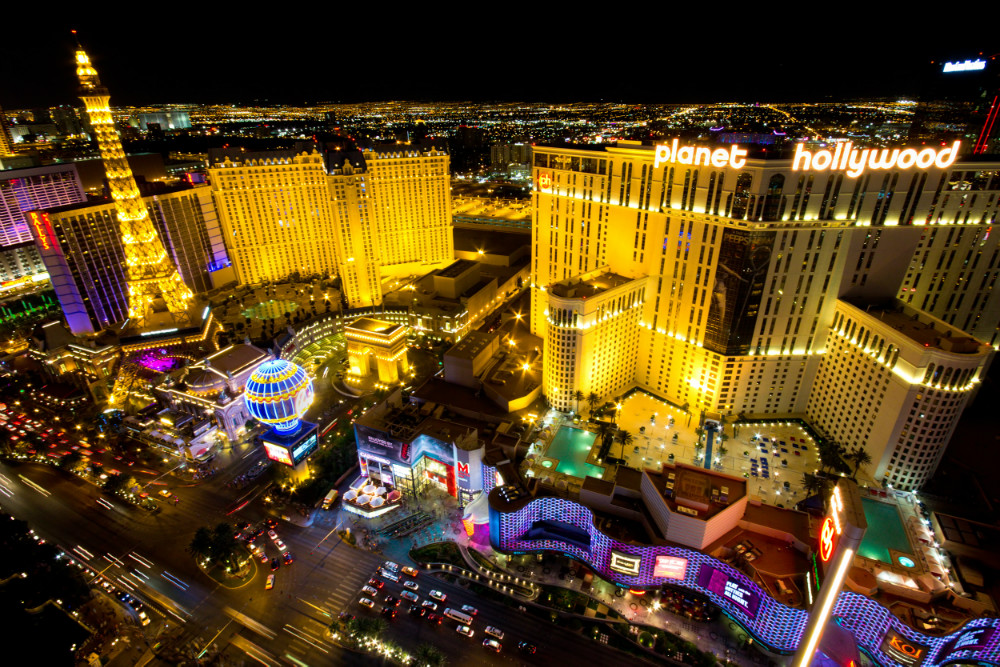 Aerial View of The Strip At Night