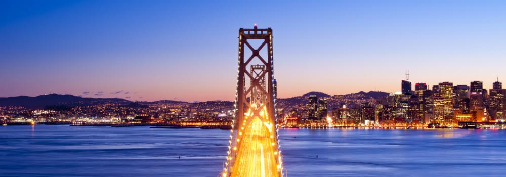 Panorama of Bay Bridge at sunset