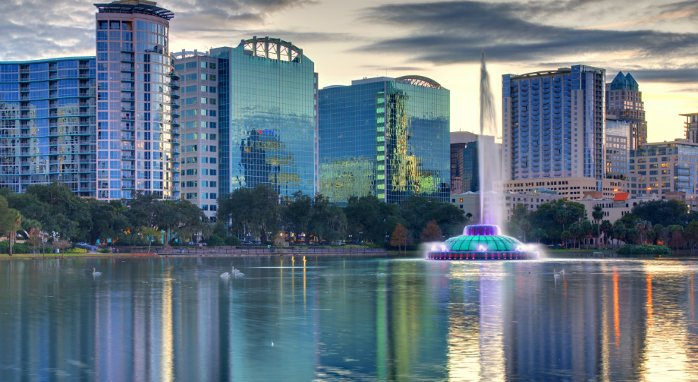 Skyline of Orlando Florida from lake Eola