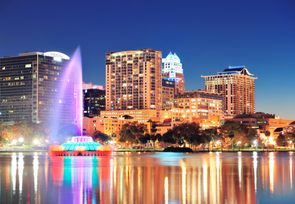 Orlando downtown skyline panorama over Lake Eola