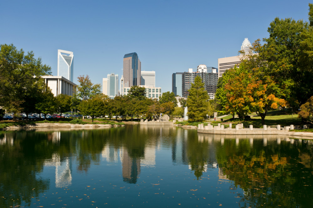 city skyline in early fall