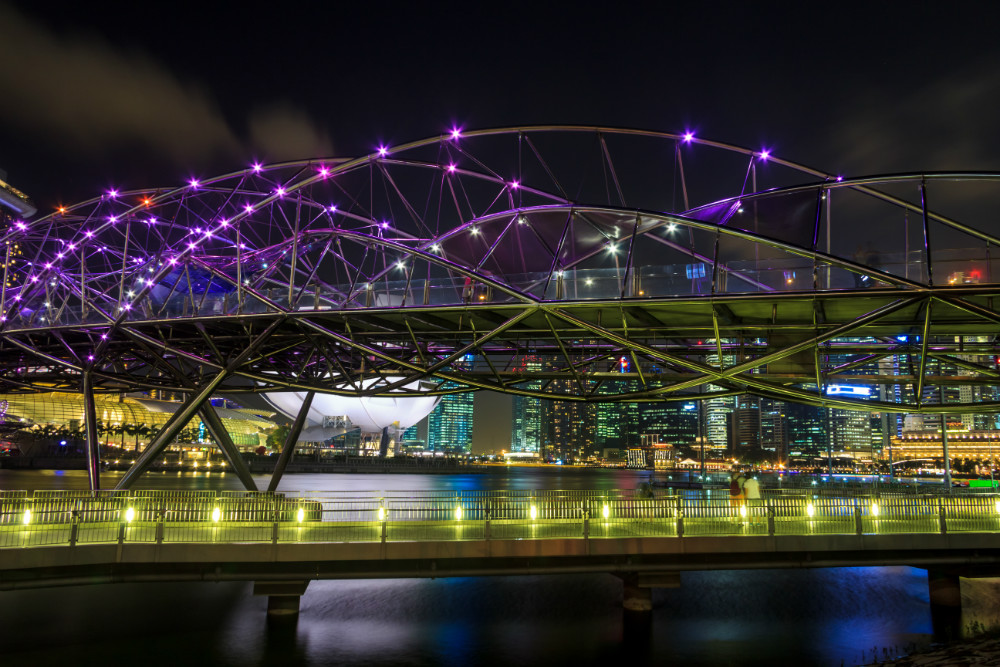 A Glowing Helix Bridge