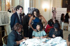 First Lady Michelle Obama Holds Fashion Education Workshop at the White House