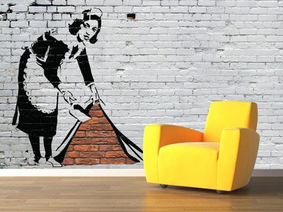 Put a bansky on your wall quirky wallpapers for your pad for Quirky wallpaper