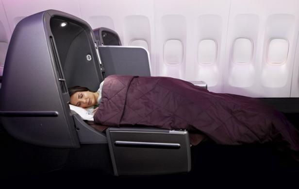 sleeping international flight