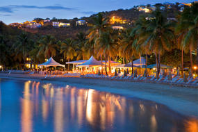 The Westin St. John Resort & Villas beach at night