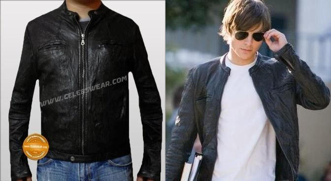 46db0a4d3 Zac Efron OBLOW 17 Again Leather Jacket
