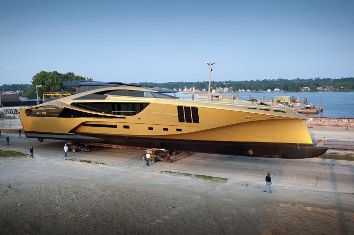 Palmer Johnson Unveils Golden 48m Supersport Yacht In Sturgeon Bay